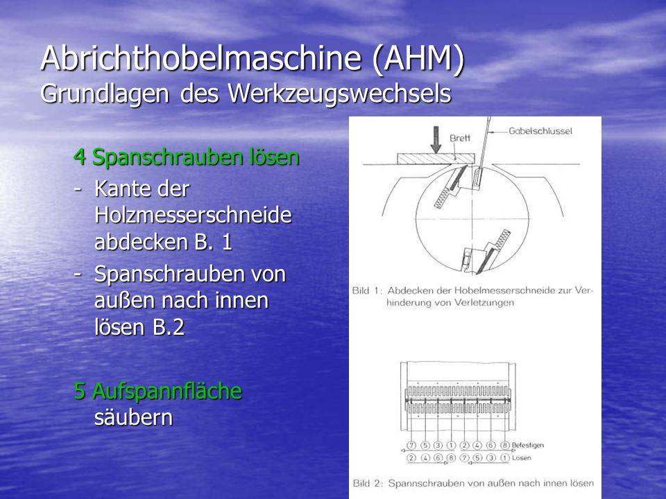 Abrichthobelmaschine (AHM) Grundlagen des Werkzeugswechsels 4 Spanschrauben lösen -Kante der Holzmesserschneide abdecken B. 1 -Spanschrauben von außen