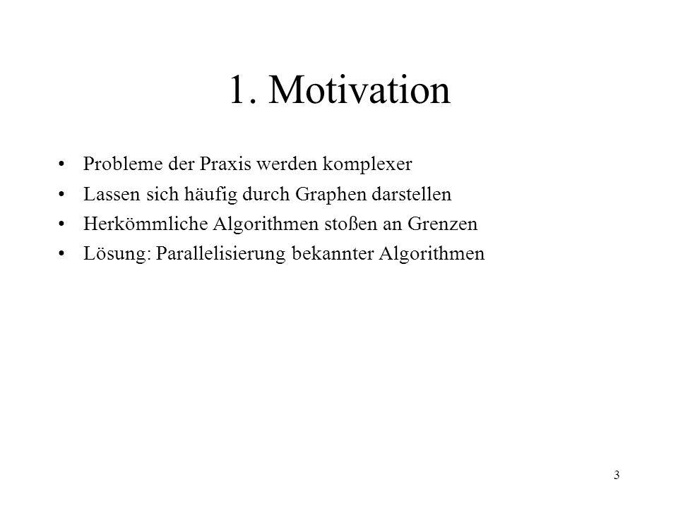 3 1. Motivation Probleme der Praxis werden komplexer Lassen sich häufig durch Graphen darstellen Herkömmliche Algorithmen stoßen an Grenzen Lösung: Pa