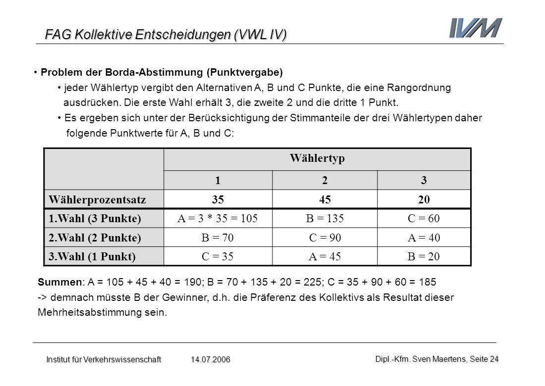 FAG Kollektive Entscheidungen (VWL IV) Institut für Verkehrswissenschaft 14.07.2006Dipl.-Kfm. Sven Maertens, Seite 24 Problem der Borda-Abstimmung (Pu