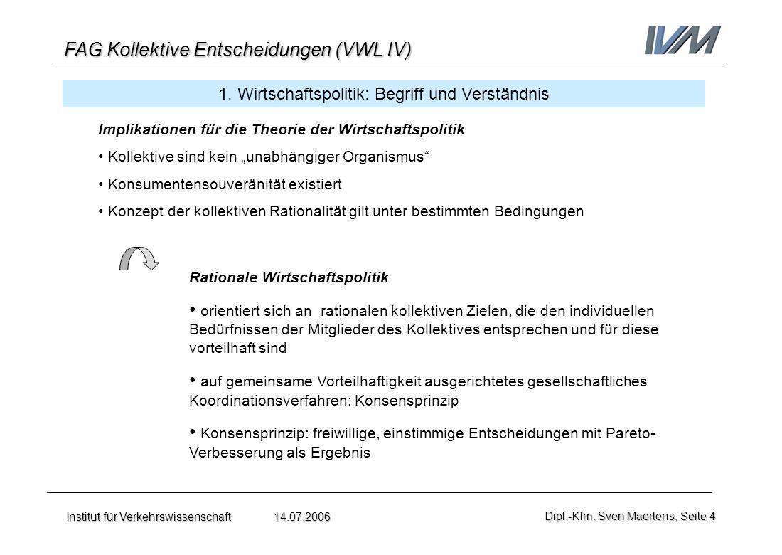 FAG Kollektive Entscheidungen (VWL IV) Institut für Verkehrswissenschaft 14.07.2006Dipl.-Kfm. Sven Maertens, Seite 4 1. Wirtschaftspolitik: Begriff un