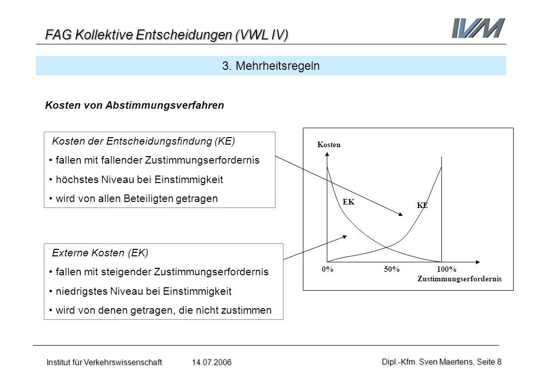 FAG Kollektive Entscheidungen (VWL IV) Institut für Verkehrswissenschaft 14.07.2006Dipl.-Kfm. Sven Maertens, Seite 8 3. Mehrheitsregeln Kosten von Abs