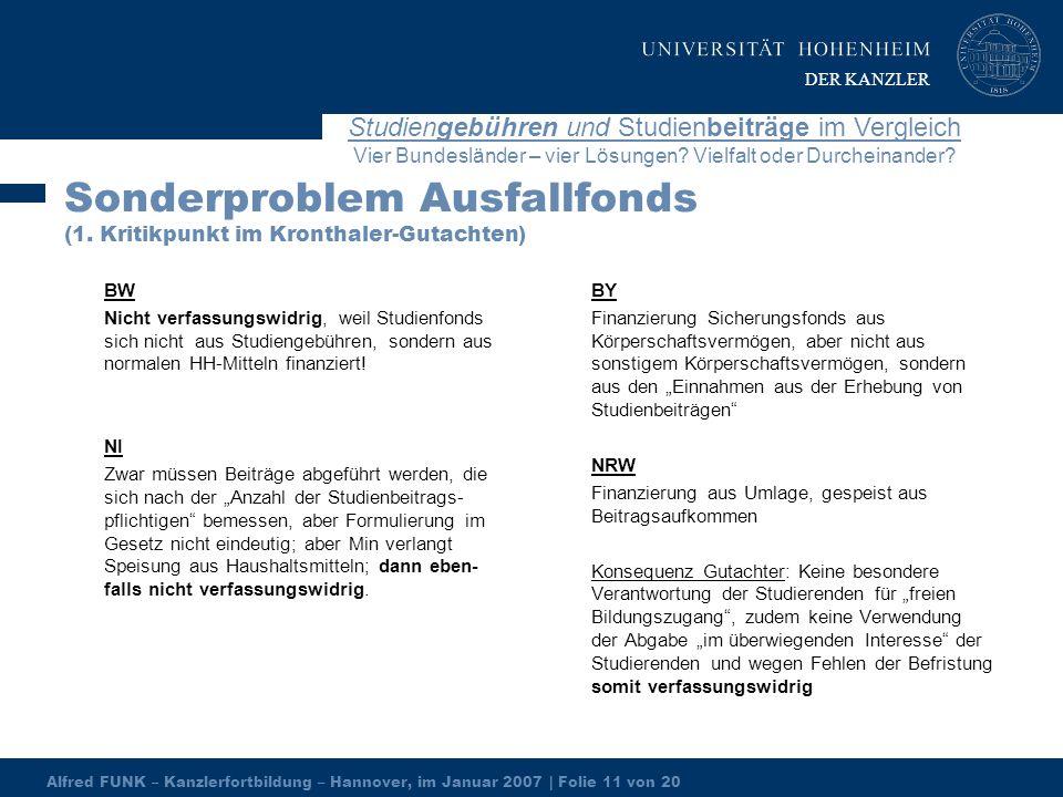 Alfred FUNK – Kanzlerfortbildung – Hannover, im Januar 2007 | Folie 11 von 20 Studiengebühren und Studienbeiträge im Vergleich Vier Bundesländer – vier Lösungen.