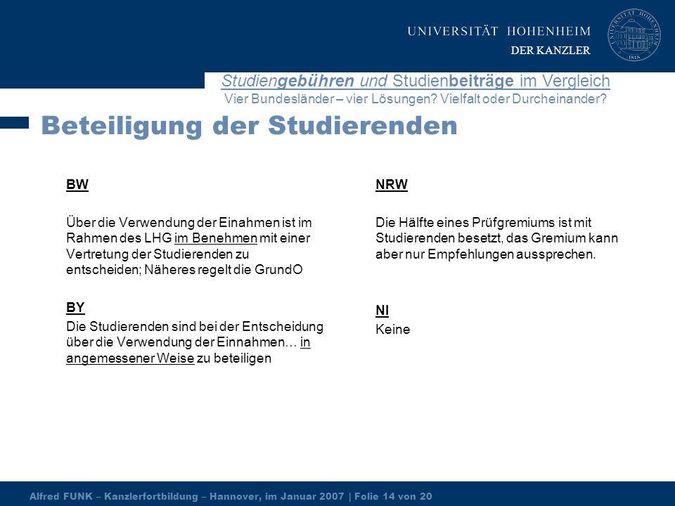 Alfred FUNK – Kanzlerfortbildung – Hannover, im Januar 2007 | Folie 14 von 20 Studiengebühren und Studienbeiträge im Vergleich Vier Bundesländer – vier Lösungen.