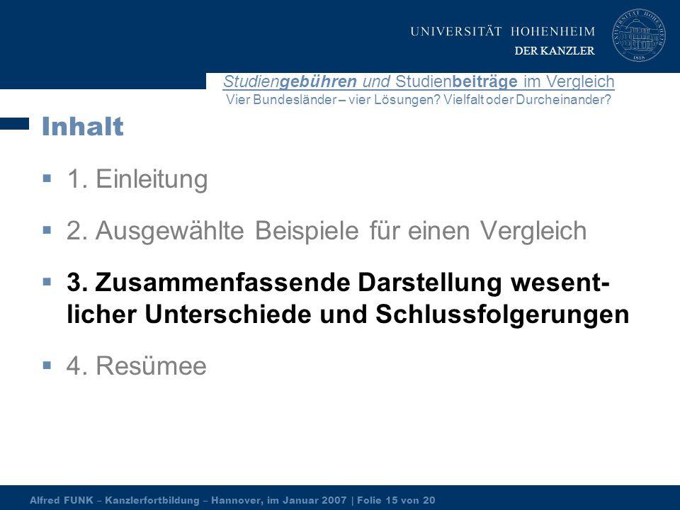 Alfred FUNK – Kanzlerfortbildung – Hannover, im Januar 2007 | Folie 15 von 20 Studiengebühren und Studienbeiträge im Vergleich Vier Bundesländer – vier Lösungen.