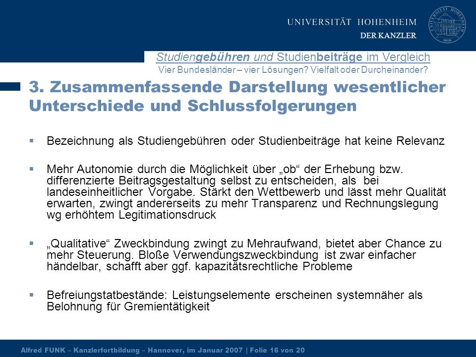 Alfred FUNK – Kanzlerfortbildung – Hannover, im Januar 2007 | Folie 16 von 20 Studiengebühren und Studienbeiträge im Vergleich Vier Bundesländer – vier Lösungen.