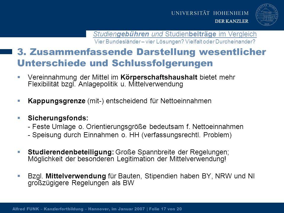 Alfred FUNK – Kanzlerfortbildung – Hannover, im Januar 2007 | Folie 17 von 20 Studiengebühren und Studienbeiträge im Vergleich Vier Bundesländer – vier Lösungen.