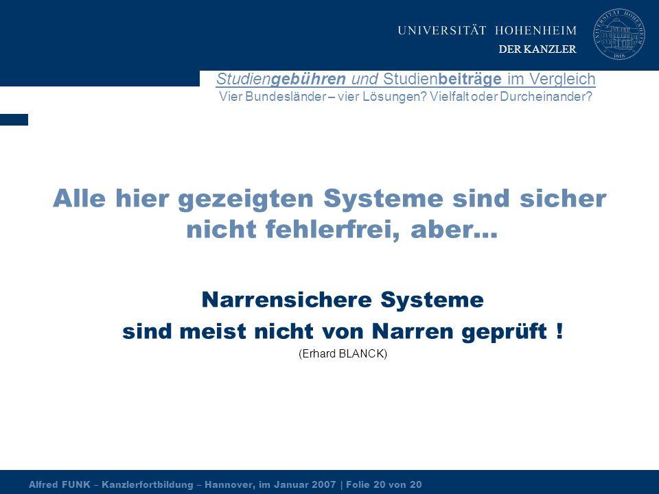 Alfred FUNK – Kanzlerfortbildung – Hannover, im Januar 2007 | Folie 20 von 20 Studiengebühren und Studienbeiträge im Vergleich Vier Bundesländer – vier Lösungen.
