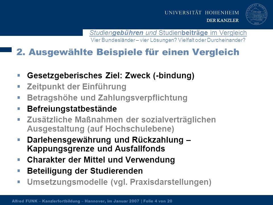 Alfred FUNK – Kanzlerfortbildung – Hannover, im Januar 2007 | Folie 4 von 20 Studiengebühren und Studienbeiträge im Vergleich Vier Bundesländer – vier Lösungen.