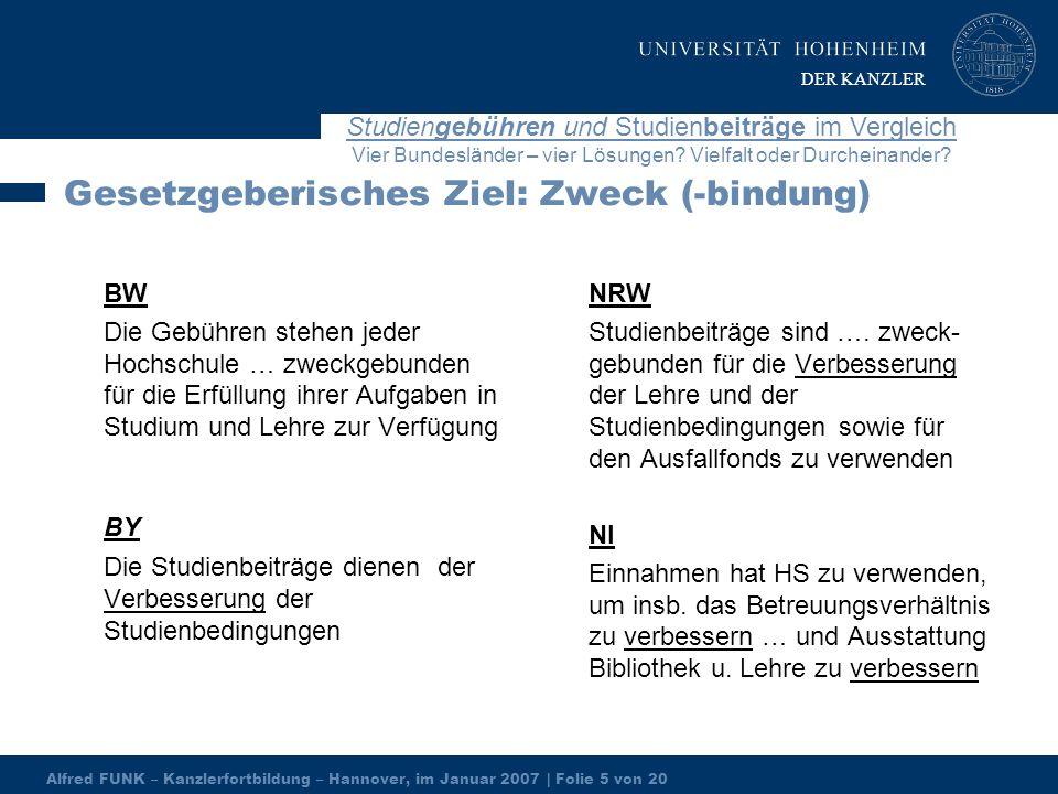 Alfred FUNK – Kanzlerfortbildung – Hannover, im Januar 2007 | Folie 5 von 20 Studiengebühren und Studienbeiträge im Vergleich Vier Bundesländer – vier Lösungen.