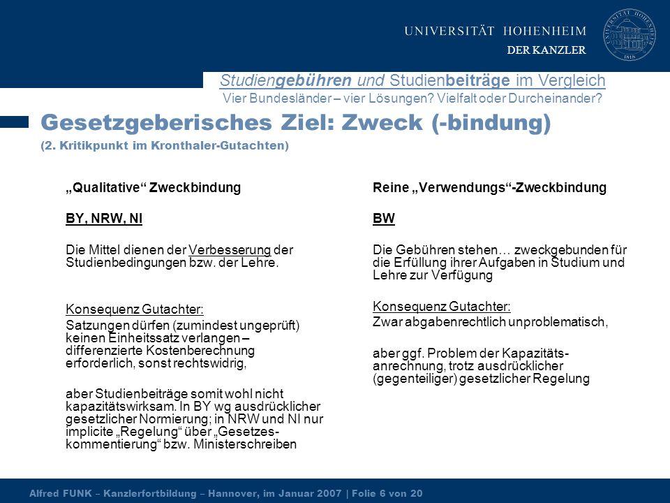 Alfred FUNK – Kanzlerfortbildung – Hannover, im Januar 2007 | Folie 6 von 20 Studiengebühren und Studienbeiträge im Vergleich Vier Bundesländer – vier Lösungen.