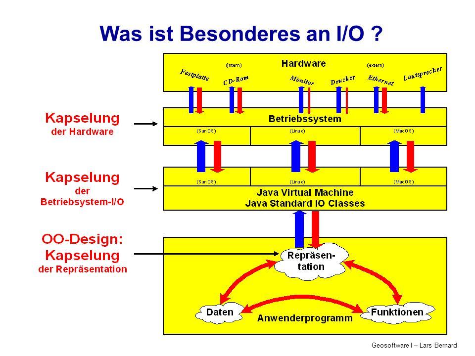 Geosoftware I – Lars Bernard Was ist Besonderes an I/O