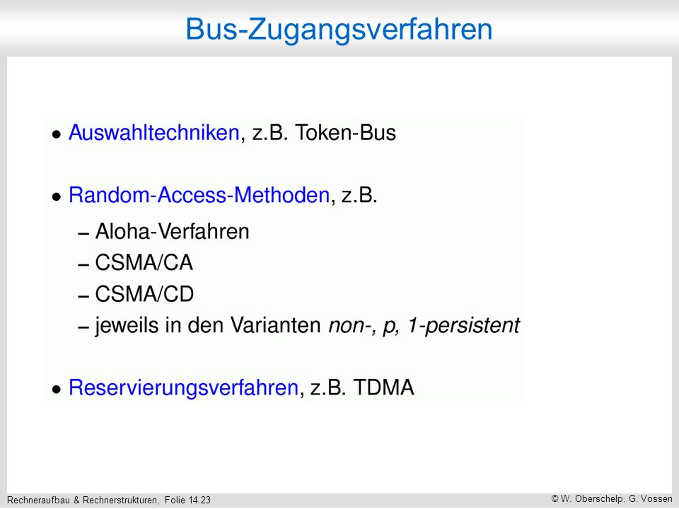 Rechneraufbau & Rechnerstrukturen, Folie 14.23 © W. Oberschelp, G. Vossen Bus-Zugangsverfahren
