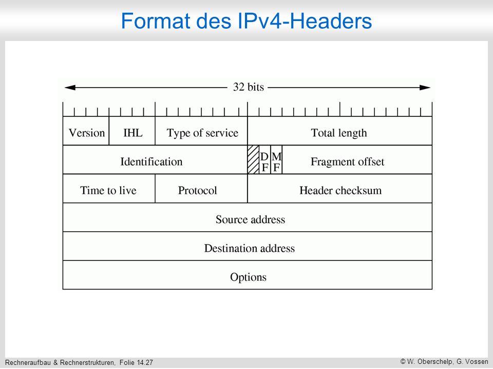 Rechneraufbau & Rechnerstrukturen, Folie 14.27 © W. Oberschelp, G. Vossen Format des IPv4-Headers