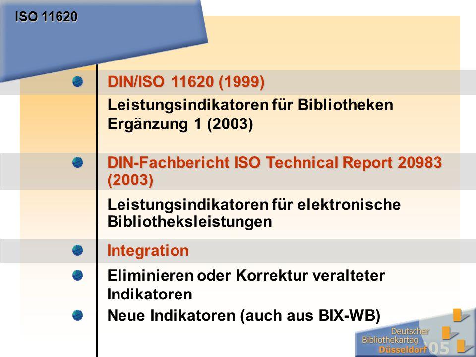 DIN/ISO 11620 (1999) Leistungsindikatoren für Bibliotheken Ergänzung 1 (2003) ISO 11620 DIN-Fachbericht ISO Technical Report 20983 (2003) Leistungsindikatoren für elektronische Bibliotheksleistungen Integration Eliminieren oder Korrektur veralteter Indikatoren Neue Indikatoren (auch aus BIX-WB)