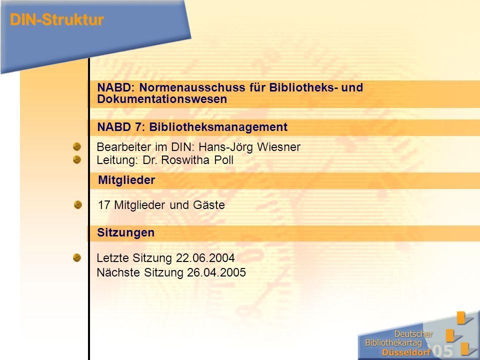 NABD: Normenausschuss für Bibliotheks- und Dokumentationswesen NABD 7: Bibliotheksmanagement Bearbeiter im DIN: Hans-Jörg Wiesner Leitung: Dr.
