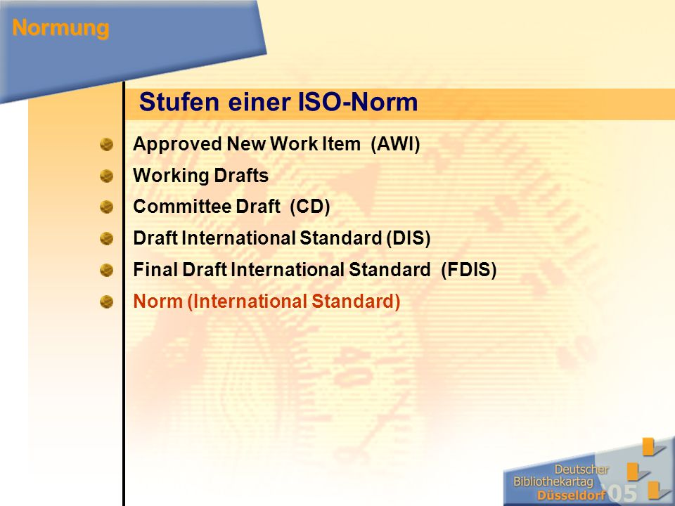 Stufen einer ISO-Norm Approved New Work Item (AWI) Working Drafts Committee Draft (CD) Draft International Standard (DIS) Final Draft International Standard (FDIS) Norm (International Standard) Normung