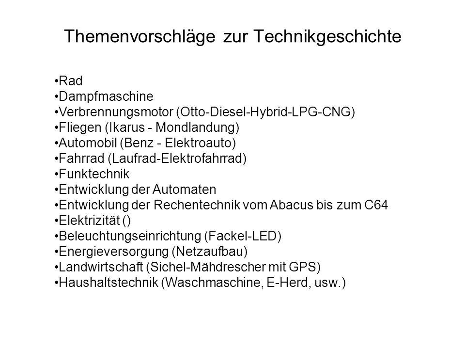 Themenvorschläge zur Technikgeschichte Rad Dampfmaschine Verbrennungsmotor (Otto-Diesel-Hybrid-LPG-CNG) Fliegen (Ikarus - Mondlandung) Automobil (Benz