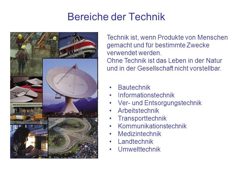 Bereiche der Technik Bautechnik Informationstechnik Ver- und Entsorgungstechnik Arbeitstechnik Transporttechnik Kommunikationstechnik Medizintechnik L