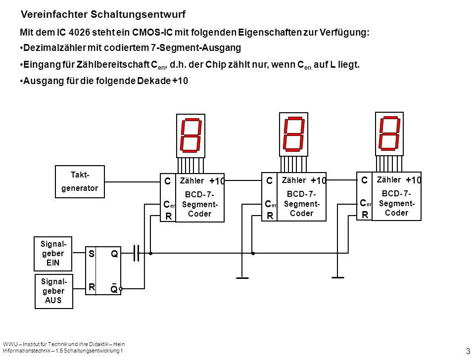 WWU – Institut für Technik und ihre Didaktik – Hein Informationstechnik – 1.5 Schaltungsentwicklung 1 3 Vereinfachter Schaltungsentwurf Mit dem IC 402