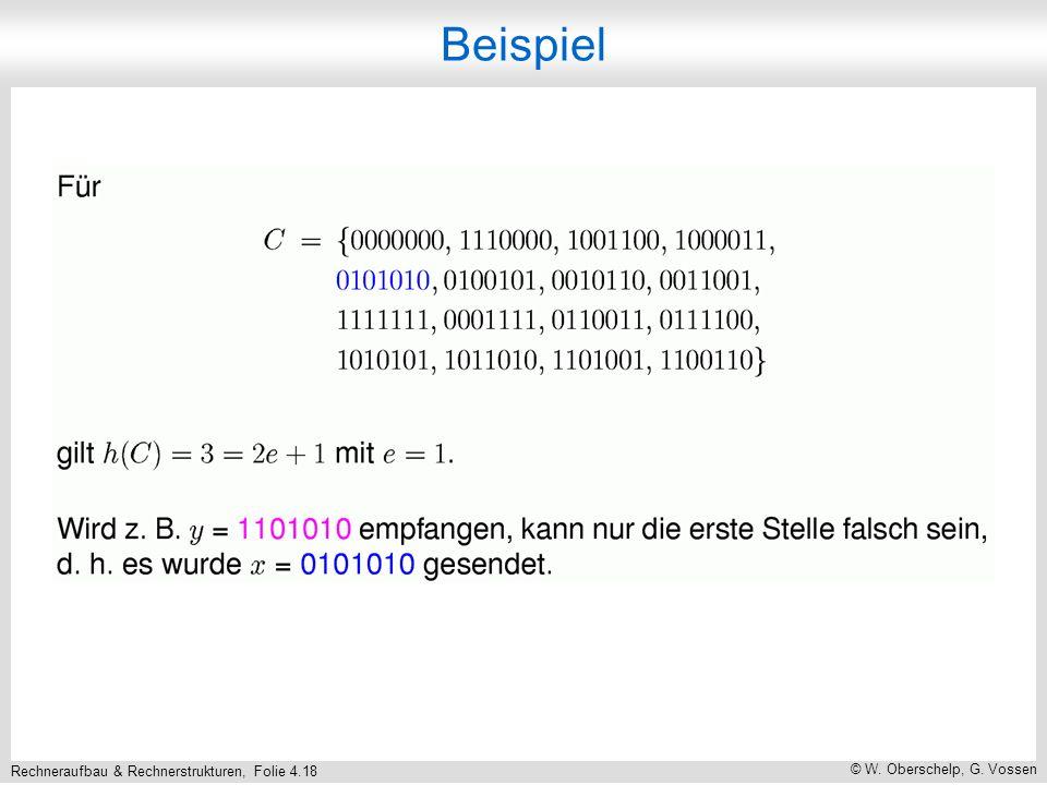 Rechneraufbau & Rechnerstrukturen, Folie 4.18 © W. Oberschelp, G. Vossen Beispiel