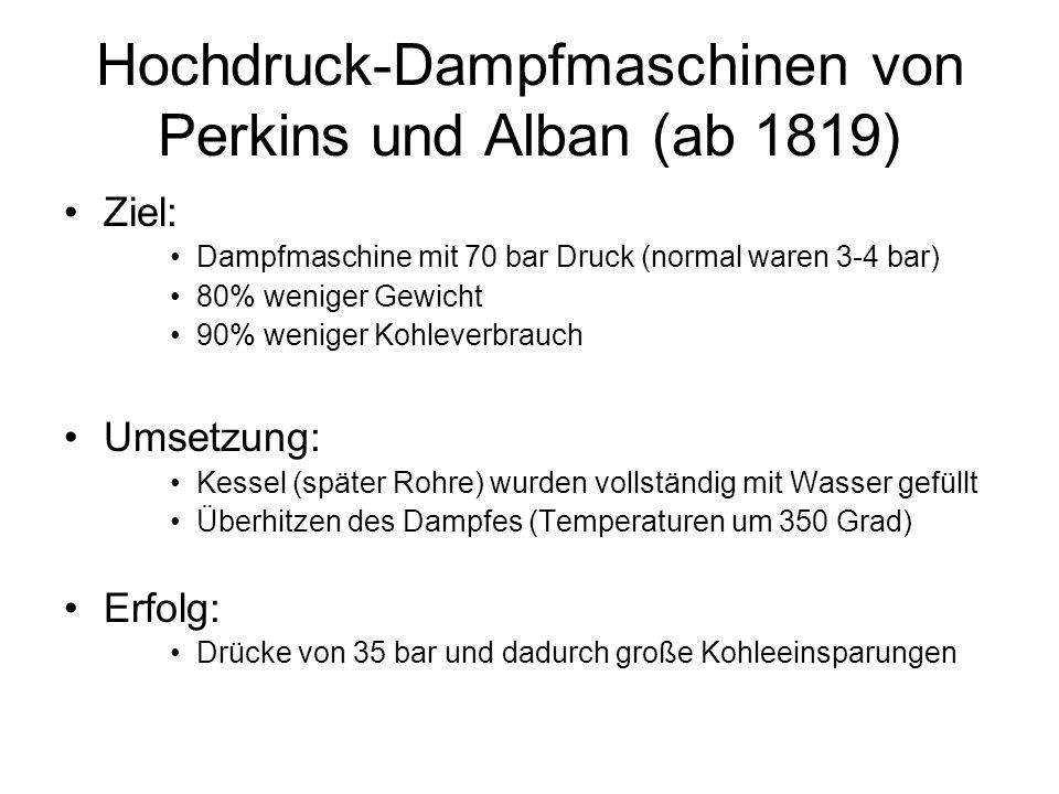 Hochdruck-Dampfmaschinen von Perkins und Alban (ab 1819) Ziel: Dampfmaschine mit 70 bar Druck (normal waren 3-4 bar) 80% weniger Gewicht 90% weniger K