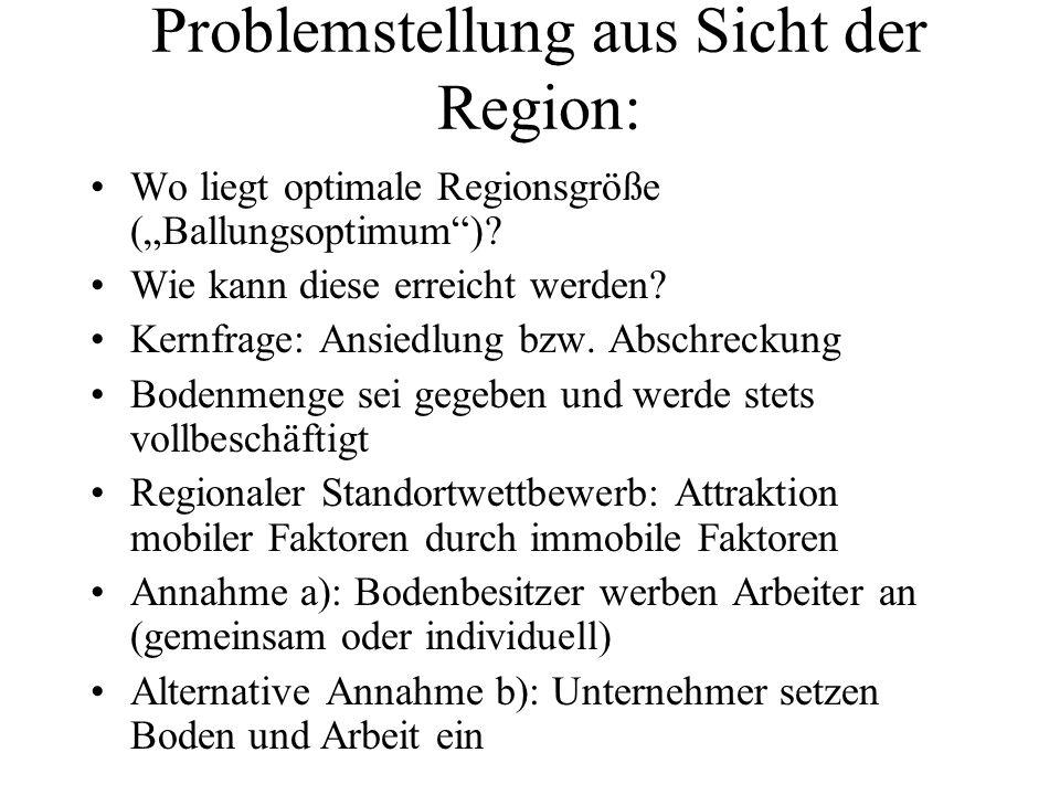 Problemstellung aus Sicht der Region: Wo liegt optimale Regionsgröße (Ballungsoptimum)? Wie kann diese erreicht werden? Kernfrage: Ansiedlung bzw. Abs