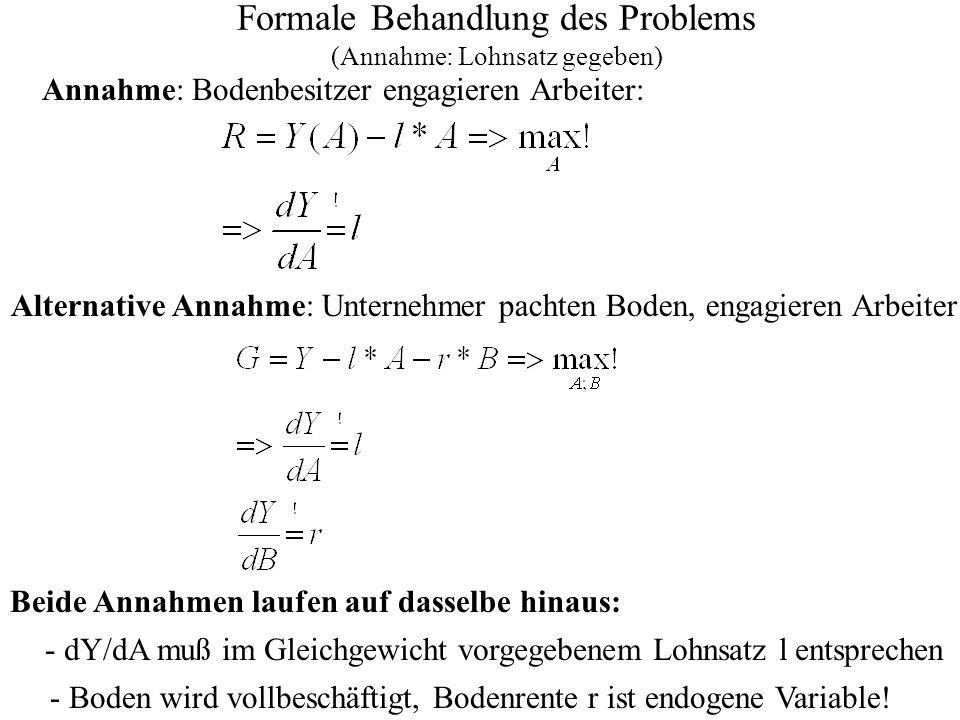 Probleme/Eigenschaften des Modells: Ertragsgesetzlicher Verlauf: Selbst bei Orientierung an Sozialen Grenzkosten treten ggfs.
