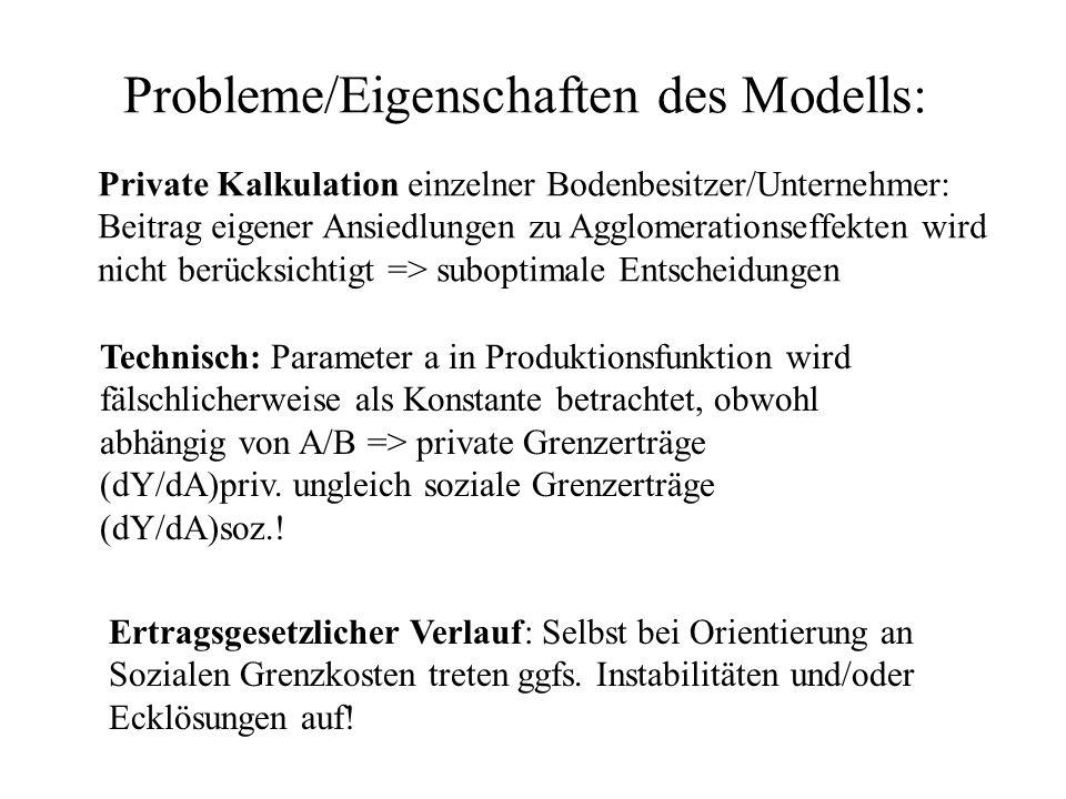 Probleme/Eigenschaften des Modells: Ertragsgesetzlicher Verlauf: Selbst bei Orientierung an Sozialen Grenzkosten treten ggfs. Instabilitäten und/oder