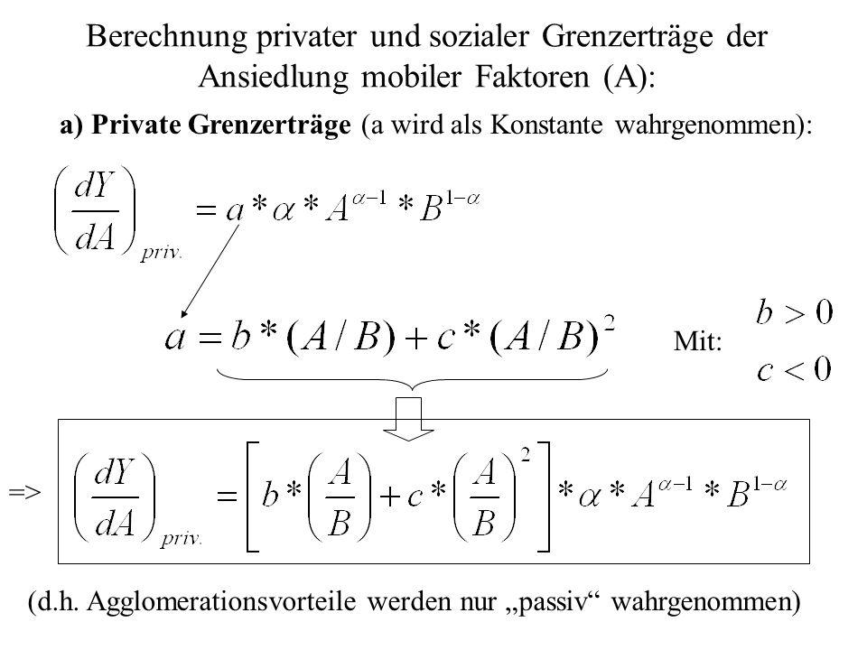 Berechnung privater und sozialer Grenzerträge der Ansiedlung mobiler Faktoren (A): a) Private Grenzerträge (a wird als Konstante wahrgenommen): Mit: (