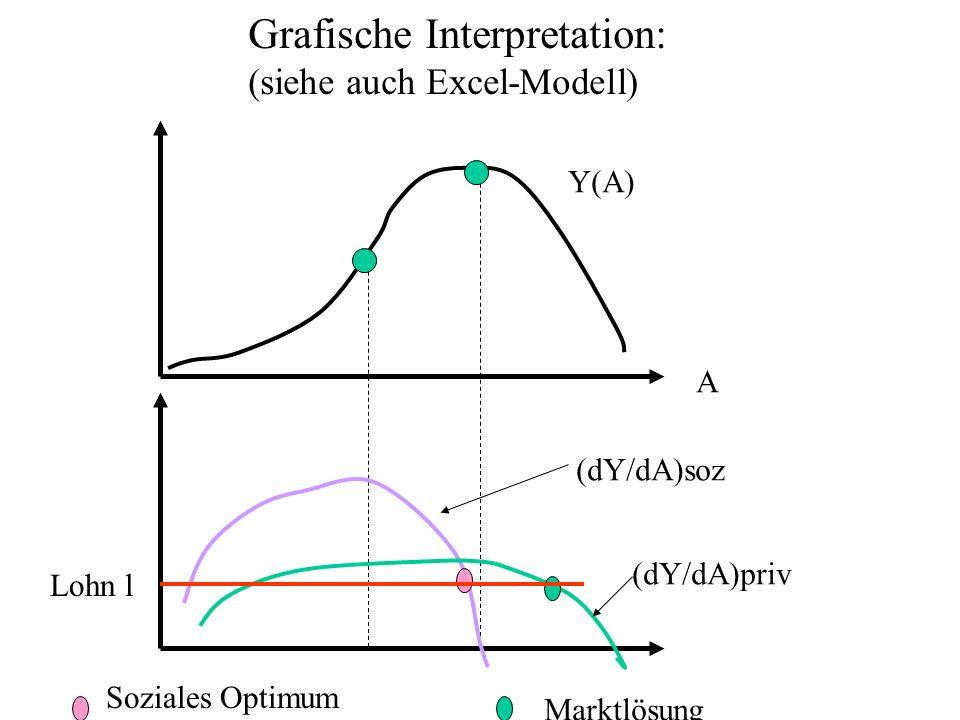 A Y(A) (dY/dA)soz (dY/dA)priv Grafische Interpretation: (siehe auch Excel-Modell) Lohn l Soziales Optimum Marktlösung