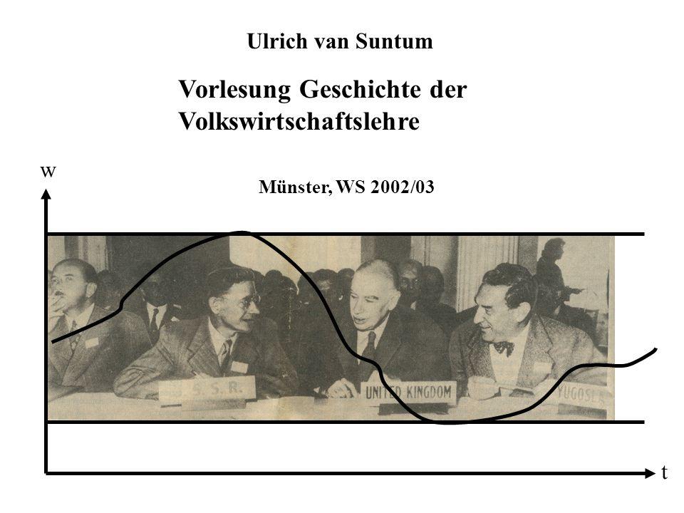 Vorlesung Geschichte der Volkswirtschaftslehre Münster, WS 2002/03 Ulrich van Suntum t w