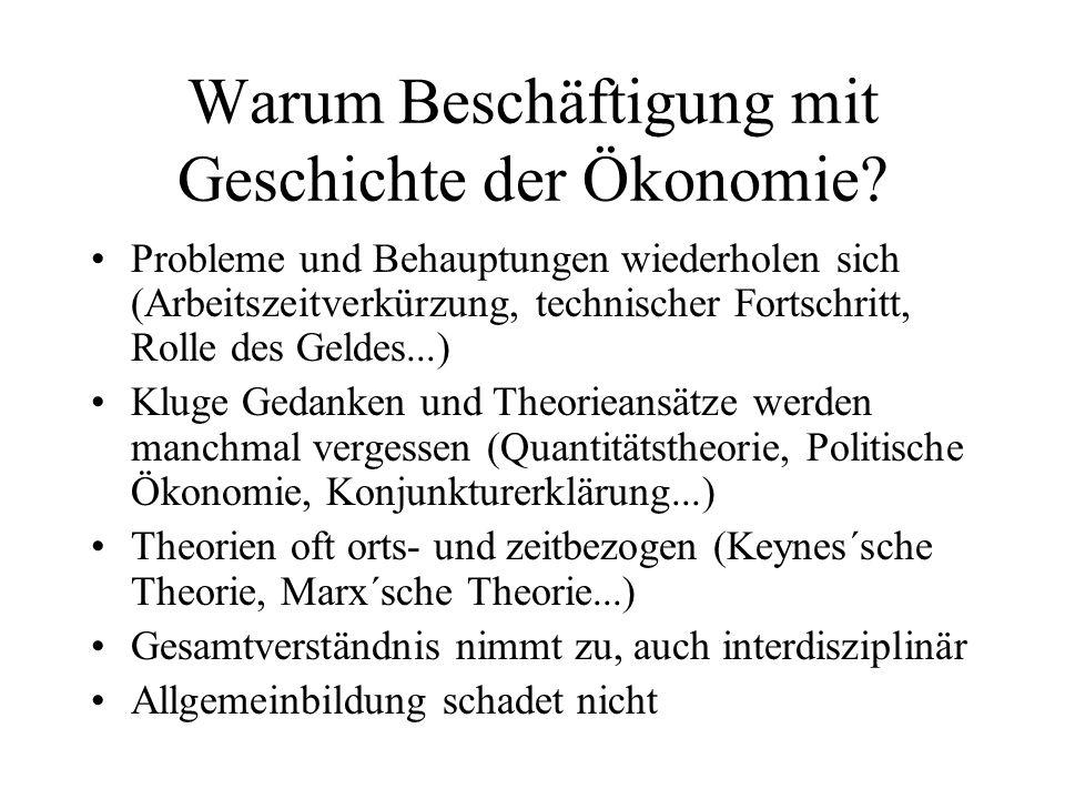 Warum Beschäftigung mit Geschichte der Ökonomie? Probleme und Behauptungen wiederholen sich (Arbeitszeitverkürzung, technischer Fortschritt, Rolle des