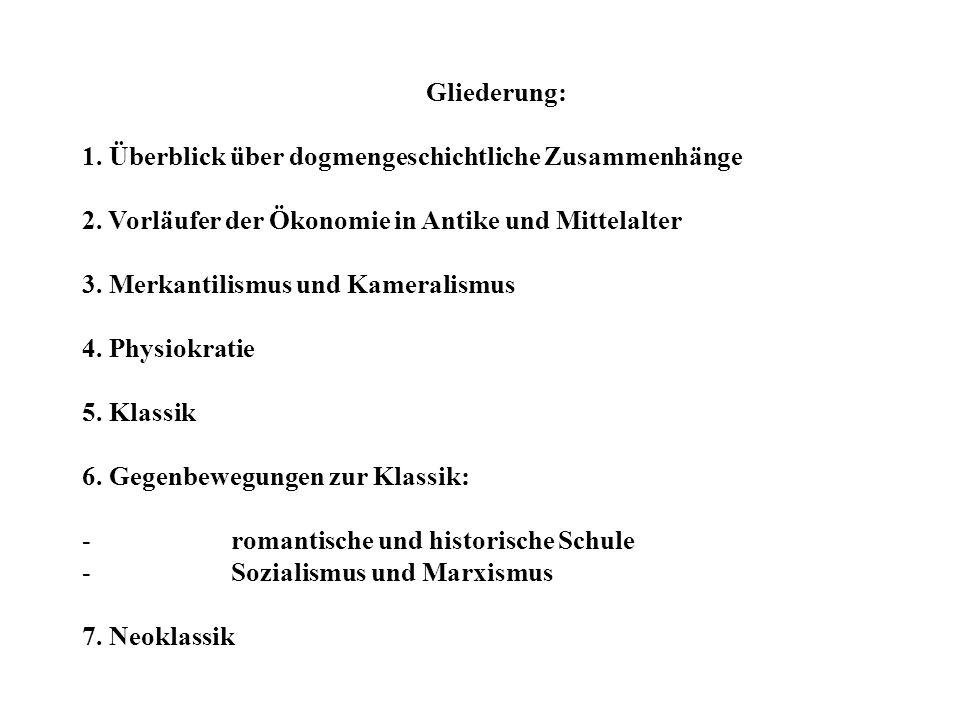 Gliederung: 1. Überblick über dogmengeschichtliche Zusammenhänge 2. Vorläufer der Ökonomie in Antike und Mittelalter 3. Merkantilismus und Kameralismu