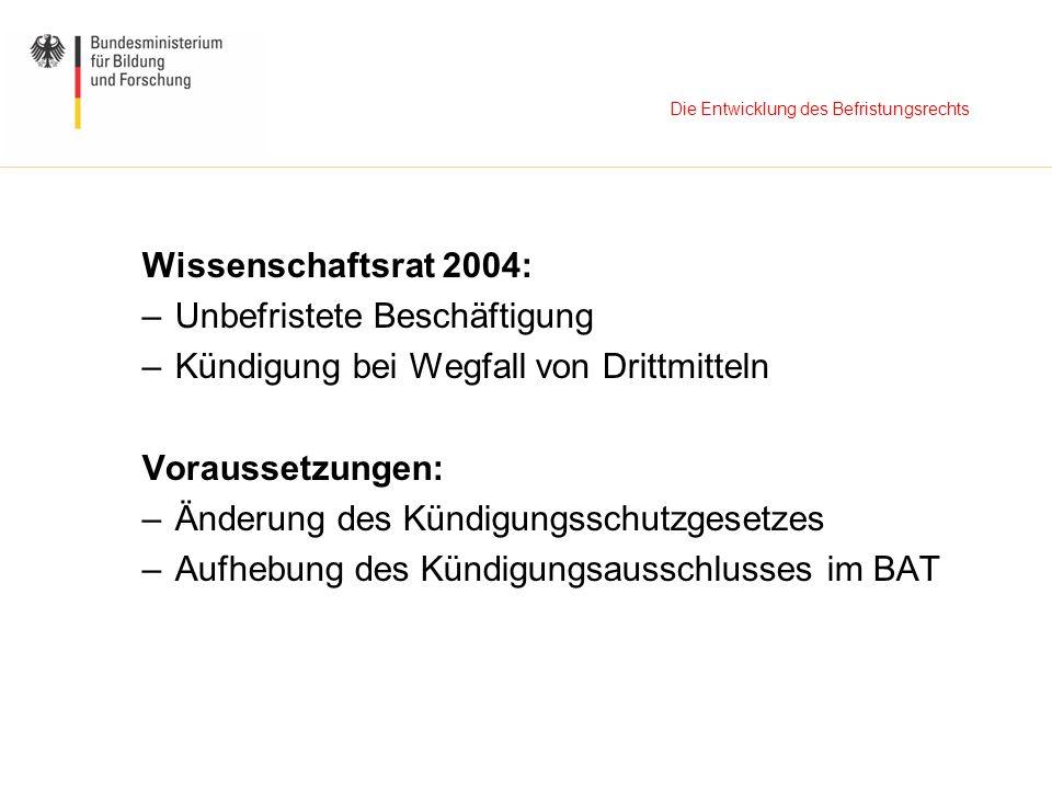 Die Entwicklung des Befristungsrechts Wissenschaftsrat 2004: –Unbefristete Beschäftigung –Kündigung bei Wegfall von Drittmitteln Voraussetzungen: –Änd
