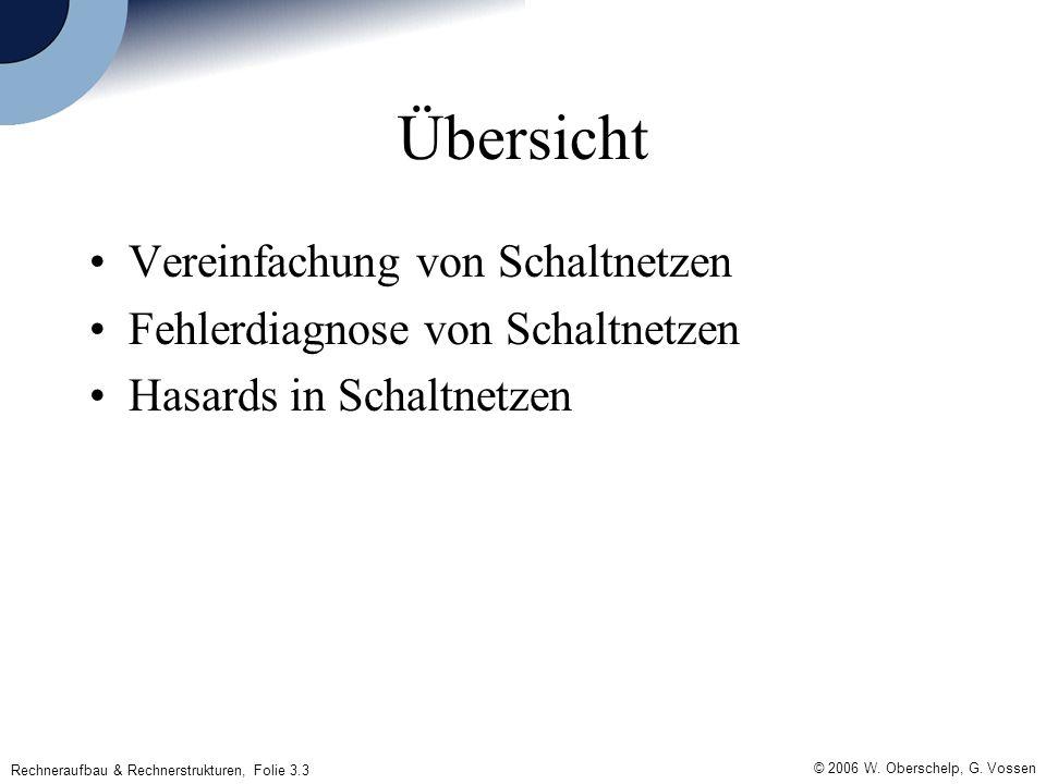 Rechneraufbau & Rechnerstrukturen, Folie 3.3 © 2006 W. Oberschelp, G. Vossen Übersicht Vereinfachung von Schaltnetzen Fehlerdiagnose von Schaltnetzen