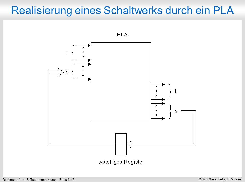 Rechneraufbau & Rechnerstrukturen, Folie 6.17 © W. Oberschelp, G. Vossen Realisierung eines Schaltwerks durch ein PLA