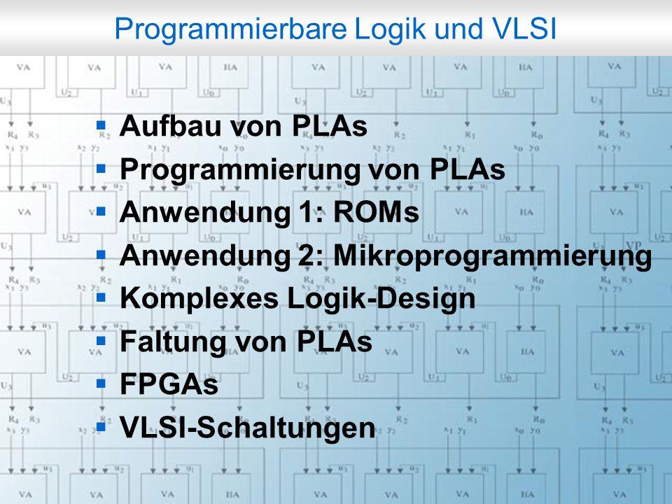 Rechneraufbau & Rechnerstrukturen, Folie 6.2 © W. Oberschelp, G. Vossen Programmierbare Logik und VLSI Aufbau von PLAs Programmierung von PLAs Anwendu