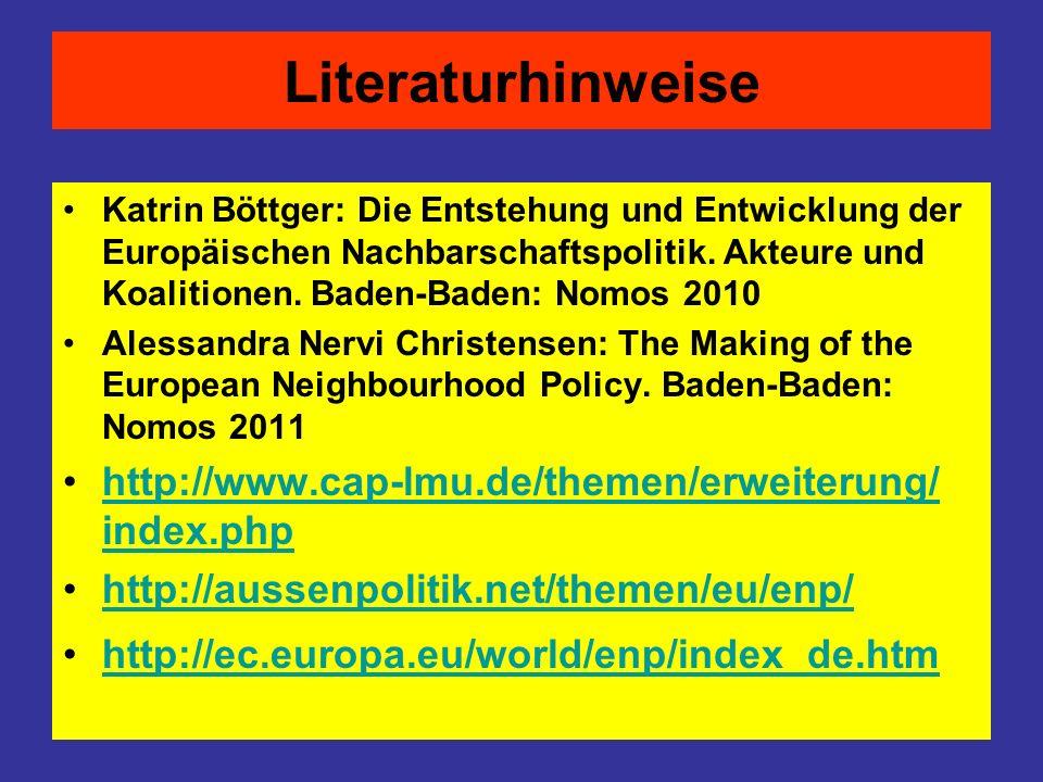 Literaturhinweise Katrin Böttger: Die Entstehung und Entwicklung der Europäischen Nachbarschaftspolitik. Akteure und Koalitionen. Baden-Baden: Nomos 2