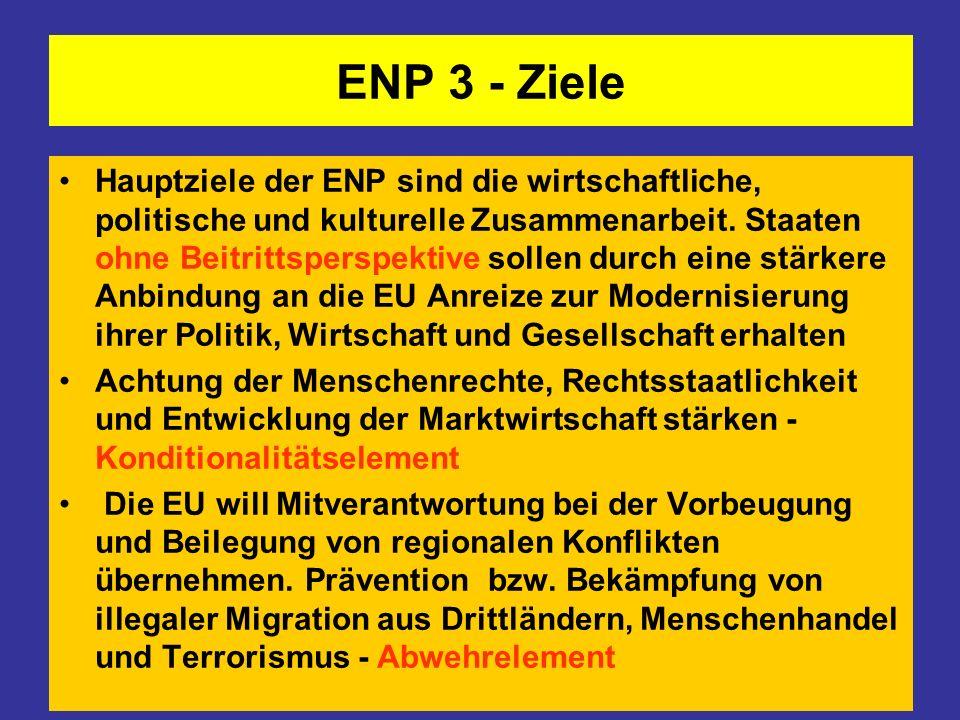 ENP 3 - Ziele Hauptziele der ENP sind die wirtschaftliche, politische und kulturelle Zusammenarbeit. Staaten ohne Beitrittsperspektive sollen durch ei