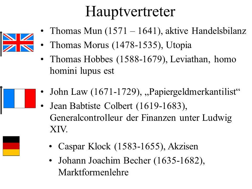 Hauptvertreter Thomas Mun (1571 – 1641), aktive Handelsbilanz Thomas Morus (1478-1535), Utopia Thomas Hobbes (1588-1679), Leviathan, homo homini lupus
