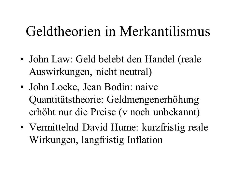 Geldtheorien in Merkantilismus John Law: Geld belebt den Handel (reale Auswirkungen, nicht neutral) John Locke, Jean Bodin: naive Quantitätstheorie: G