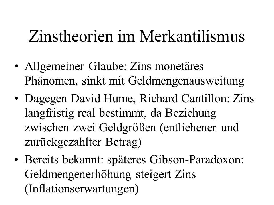 Zinstheorien im Merkantilismus Allgemeiner Glaube: Zins monetäres Phänomen, sinkt mit Geldmengenausweitung Dagegen David Hume, Richard Cantillon: Zins
