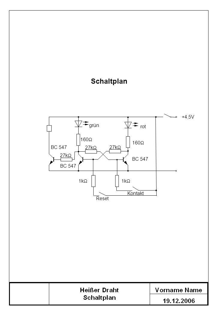 Reset 160 27k 1k +4,5V BC 547 rot grün Kontakt Schaltplan