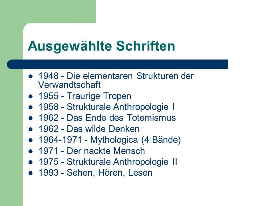 Ausgewählte Schriften 1948 - Die elementaren Strukturen der Verwandtschaft 1955 - Traurige Tropen 1958 - Strukturale Anthropologie I 1962 - Das Ende d