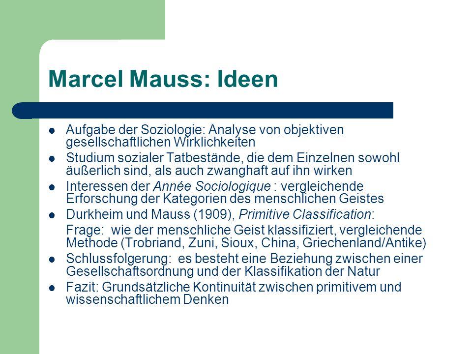 Auswahl Schriften Mauss: (1989).Soziologie und Anthropologie, 2 Bde.