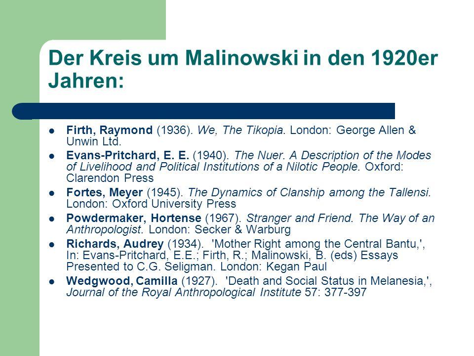 Raymond Firth (1901-2003) Studium: Wirtschaft in Neuseeland Forschung zu Maori In England: Studium social anthropology bei Malinowski Feldforschung: Melanesien, Tikopia 11 Bücher über Tikopia