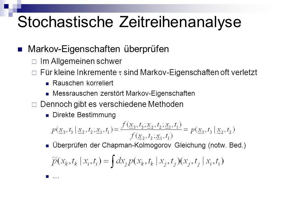 Stochastische Zeitreihenanalyse Markov-Eigenschaften überprüfen Im Allgemeinen schwer Für kleine Inkremente sind Markov-Eigenschaften oft verletzt Rauschen korreliert Messrauschen zerstört Markov-Eigenschaften Dennoch gibt es verschiedene Methoden Direkte Bestimmung Überprüfen der Chapman-Kolmogorov Gleichung (notw.