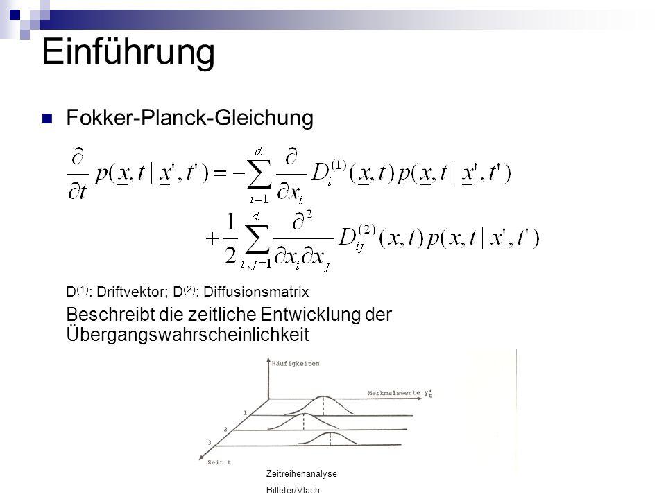 Einführung Fokker-Planck-Gleichung D (1) : Driftvektor; D (2) : Diffusionsmatrix Beschreibt die zeitliche Entwicklung der Übergangswahrscheinlichkeit Zeitreihenanalyse Billeter/Vlach