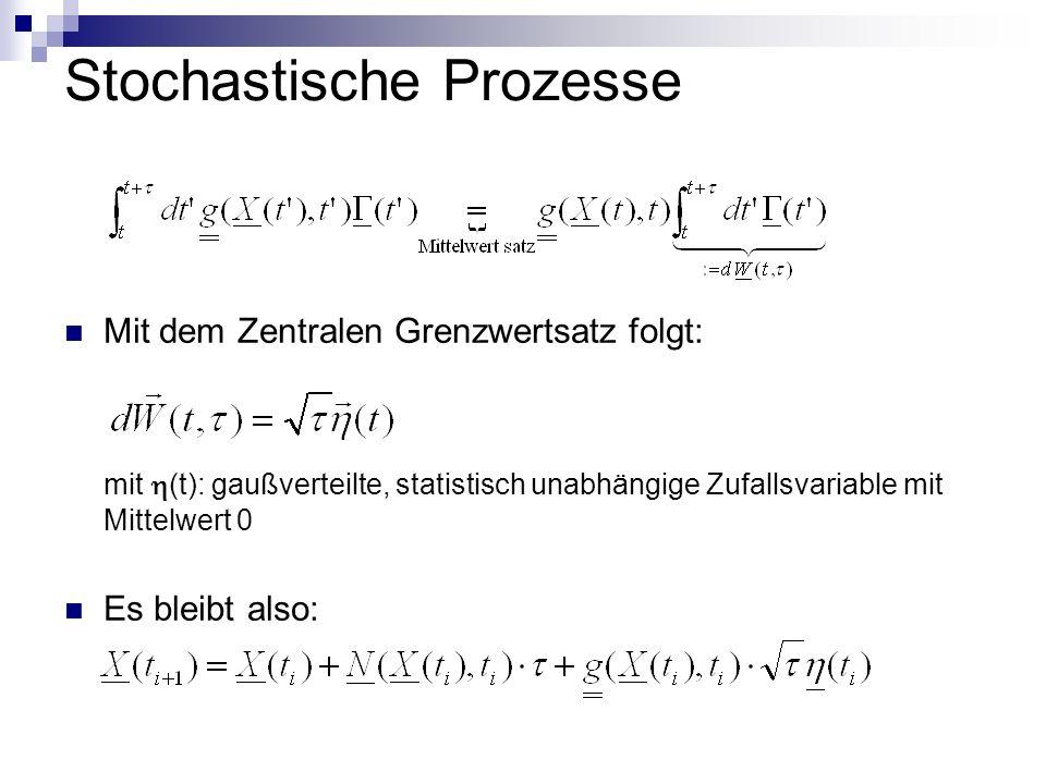 Stochastische Prozesse Mit dem Zentralen Grenzwertsatz folgt: mit (t): gaußverteilte, statistisch unabhängige Zufallsvariable mit Mittelwert 0 Es bleibt also: