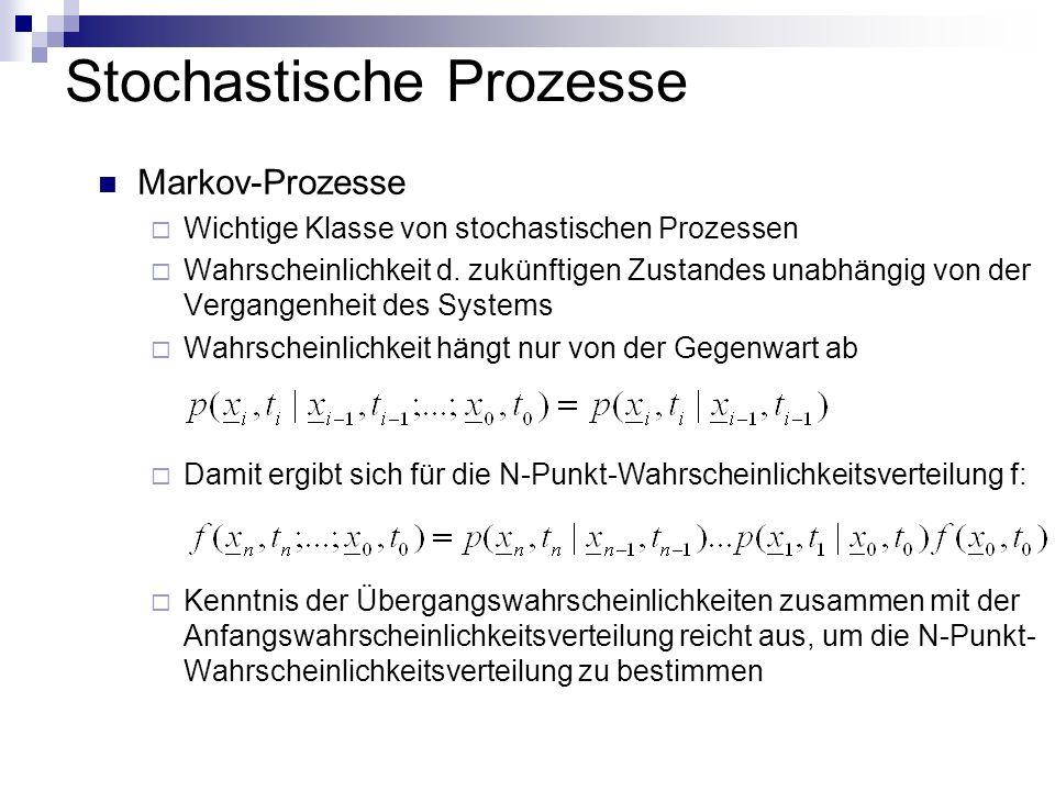 Stochastische Prozesse Markov-Prozesse Wichtige Klasse von stochastischen Prozessen Wahrscheinlichkeit d. zukünftigen Zustandes unabhängig von der Ver